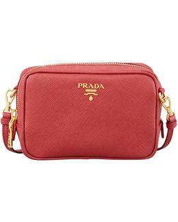Saffiano Mini Zip Crossbody Bag