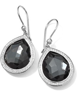 Stella Teardrop Earrings In Hematite & Diamonds