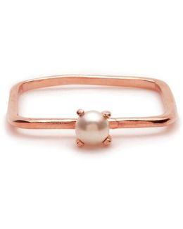 Square Tiny Pearl Ring