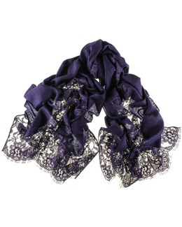 Navy Cashmere And Chantilly Lace Shawl