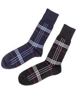 Set Of Two Egyptian Cotton Tartan Socks
