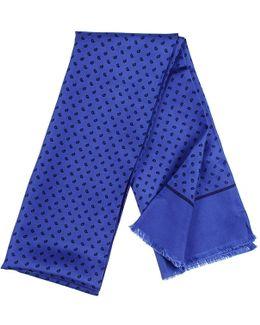 Blue Paisley Italian Silk Scarf