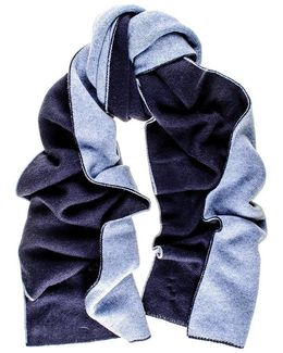 Two Tone Blue Double Faced Cashmere Scarf
