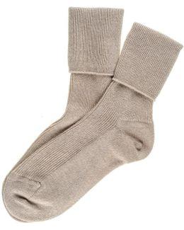 Ladies Sand Cashmere Socks