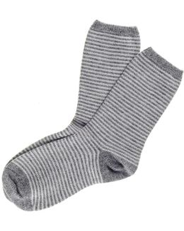 Light Grey And Platinum Striped Cashmere Socks