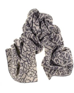 Grey And Ivory Floral Reversible Cashmere Knit Scarf