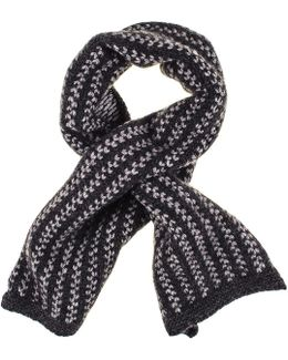 Charcoal And Light Grey Cashmere Cravat Scarf