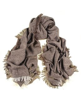 Brown And Ivory Antique Loom Cashmere Scarf