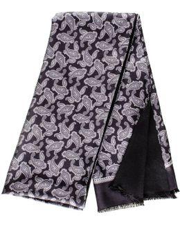 Delio Grey And Black Paisley Italian Silk Scarf
