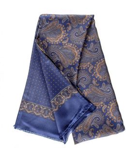 Segrino Blue And Gold Paisley Italian Silk Scarf