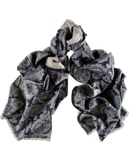 Liscia Navy And Grey Floral Italian Cotton Scarf