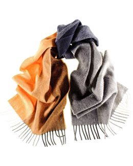 Vico Grey And Orange Colour Block Italian Wool Scarf