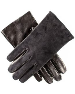Mens Black Suede And Leather Gloves - Cashmere Lined