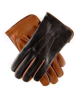 Men's Black And Tobacco Italian Leather Gloves - Cashmere Lined