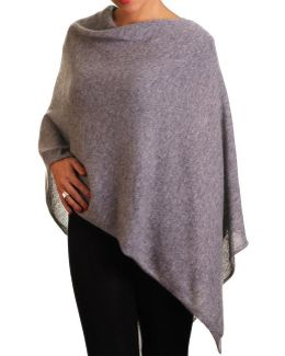Warm Grey Knitted Cashmere Poncho