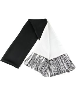 Black And White Double Faced Silk Dress Scarf With Hand Knotted Tassels