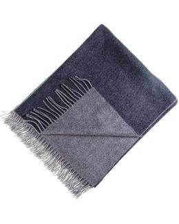 Two-tone Grey Reversible Cashmere Throw