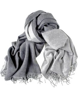 Two Tone Grey Reversible Cashmere Stole