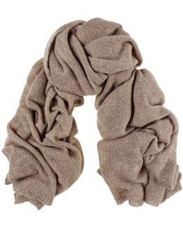 Oversized Light Brown Cashmere Knit Scarf