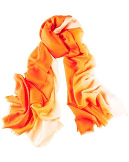 Clementine To Peach Cashmere And Silk Wrap