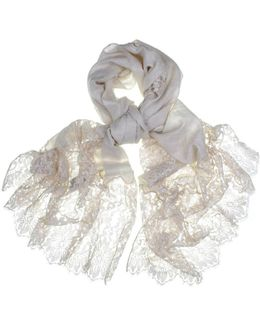 Cream Cashmere And Chantilly Lace Shawl