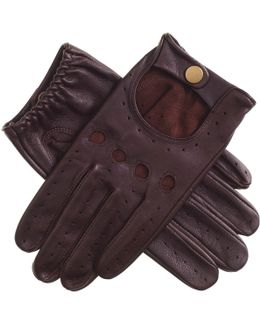 Men's Cognac Leather Driving Gloves