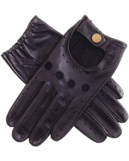 Men's Black Leather Driving Gloves