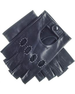Men's Black Leather Fingerless Driving Gloves