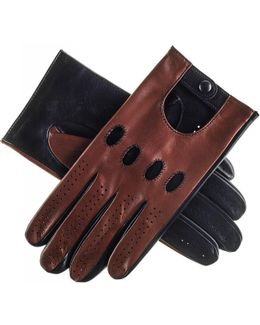 Brown And Black Leather Driving Gloves