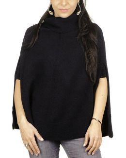 Black Roll Neck Knit Cashmere Poncho