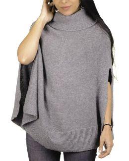 Grey Roll Neck Knit Cashmere Poncho