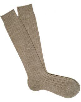 Long Natural Cashmere Socks