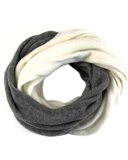 Ivory And Warm Grey Cashmere Knit Snood