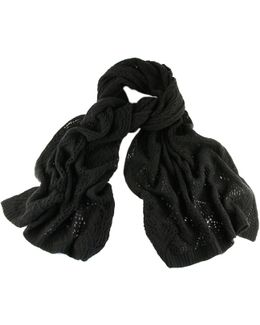 Black Oversized Lace Knitted Cashmere Wrap