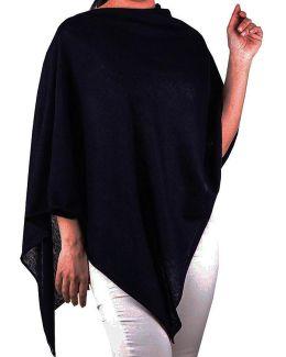 Black Cotton And Cashmere Poncho