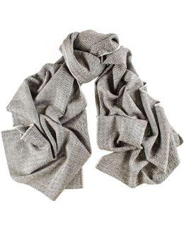 City Herringbone Silk And Merino Wool Scarf