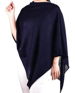Navy Cotton And Cashmere Poncho