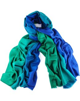 Emerald To Sapphire Handwoven Cashmere Shawl