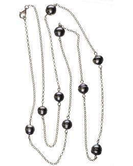 Ophelia Tahitian Black Pearl Infinity Necklace
