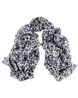 Black Leopard Print Silk And Merino Wool Scarf