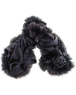 Fur Trimmed Black Cashmere Ring Shawl