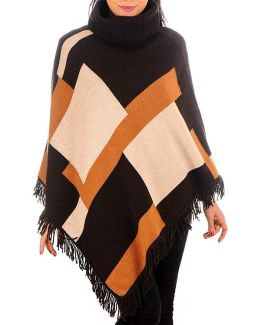 Geometric Cashmere And Wool Poncho