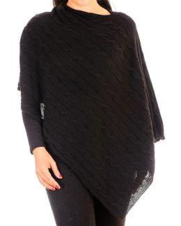 Black Cable Knit Cashmere Poncho