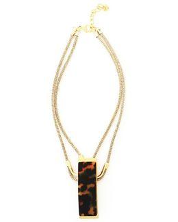 Tortoiseshell Resin Double Strand Pendant Necklace