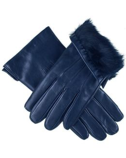 Navy Leather Gloves With Rabbit Fur Lining