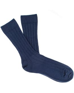 Men's Navy Blue Cashmere Socks