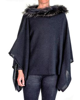 Black Cashmere Bat Wing Poncho With Fur Collar