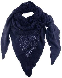 Midnight Navy Italian Lace Knit Triangular Cashmere Scarf