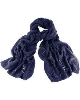 Navy Oversized Lace Knitted Cashmere Wrap