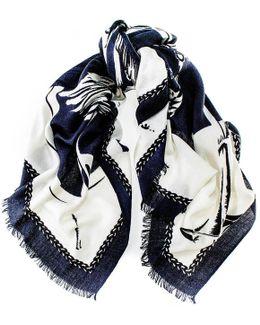 Hana Heraldic Wool And Silk Square Scarf